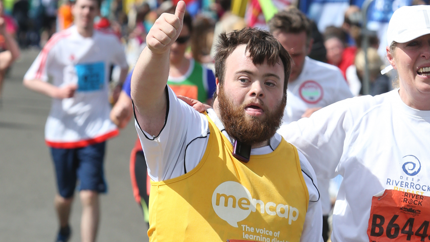 Man running the Belfast City Marathon