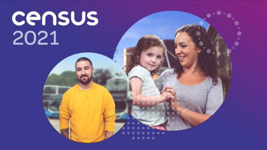 "Purple background with white text reading ""Census 21"" and an image of a woman holding a young child, as well as an image of a man stood outside smiling."